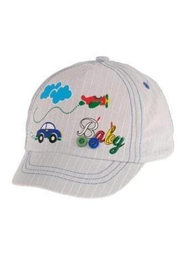 Kitti Kitti Desenli Çizgili Erkek Bebek Şapkası Beyaz